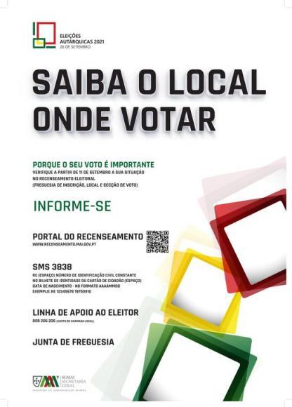 Eleições Autárquicas 2021: Saiba o local onde votar